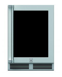 """24"""" HESTAN Outdoor Dual Zone Refrigerator with Wine, Glass Door, with Lock, Left Hinged"""