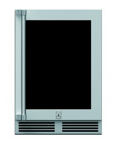 """24"""" HESTAN Outdoor Dual Zone Refrigerator with Wine, Glass Door, with Lock, Right Hinged"""