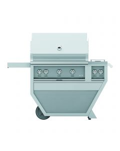 """36"""" HESTAN Grill, 3 Sear, Rotisserie, Deluxe Cart with Double Side Burner"""