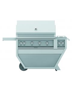 """42"""" HESTAN Grill, 3 Trellis, 1 Sear, Rotisserie, Deluxe Cart with Double Side Burner"""
