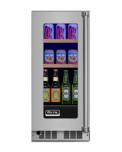 """15"""" Viking 5 Series Refrigerated Beverage Center-Clear Glass-Stainless (LH)"""