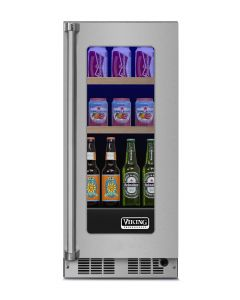 """15"""" Viking 5 Series Refrigerated Beverage Center-Clear Glass-Stainless (RH)"""