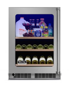 """24"""" Viking 5 Series Refrigerated Beverage Center-Clear Glass-Stainless (LH)"""