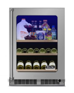 """24"""" Viking 5 Series Refrigerated Beverage Center-Clear Glass-Stainless (RH)"""