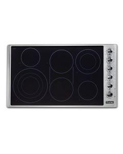 "36"" VIKING Pro Cooktops : Electric Radiant Cooktop Stainless Black 6 Burners : VECU53616BSB"
