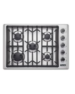 """30"""" VIKING Pro Cooktops : Gas Cooktop Stainless 5 Burners : VGSU53015B"""