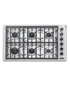 """36"""" VIKING Pro Cooktops : Gas Cooktop Stainless 6 Burners : VGSU53616B"""