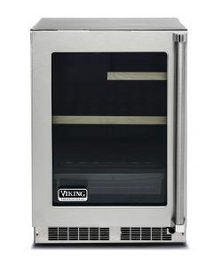 "24"" Viking 5 Series Undercounter Refrigerator-Clear Glass Door-Stainless (LH)"