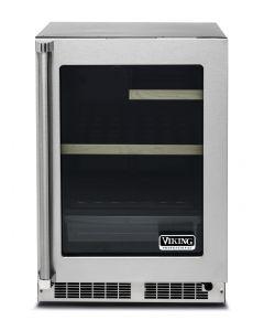 "24"" Viking 5 Series Undercounter Refrigerator-Clear Glass Door-Stainless (RH)"