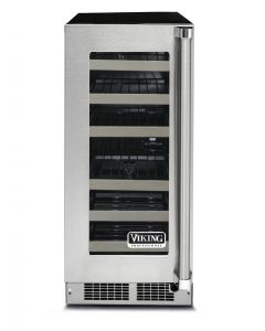"""15"""" Viking 5 Series Wine Cellar-Clear Glass-Stainless (LH)"""