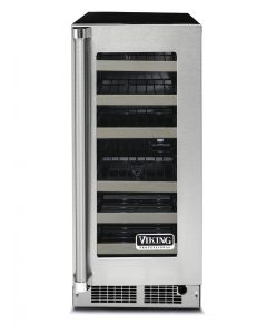 """15"""" Viking 5 Series Wine Cellar-Clear Glass-Stainless (RH)"""